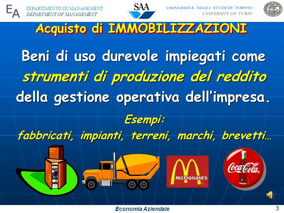 Economia Aziendale DIPARTIMENTO DI MANAGEMENT DEPARTMENT OF MANAGEMENT 13 Esercizi da svolgere Esercizi da svolgere Esercitazione 6, 7 e 8 pag.78 n°3-4-5-6 pag.