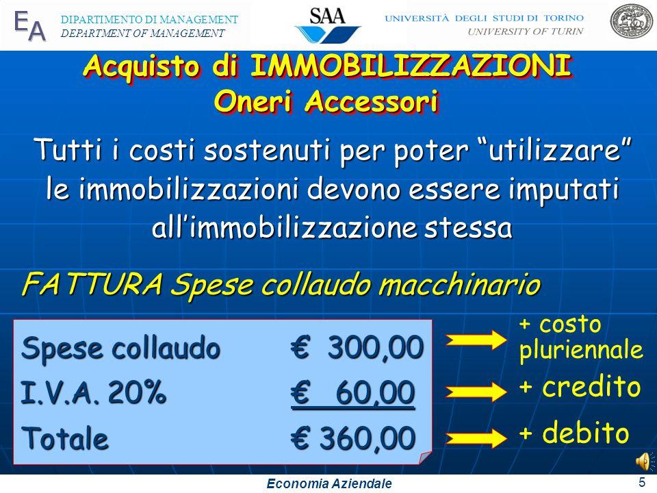 Economia Aziendale DIPARTIMENTO DI MANAGEMENT DEPARTMENT OF MANAGEMENT 4 122Diversia100.00020.000120.000 Acquisto di IMMOBILIZZAZIONI Aspetto Finanzia