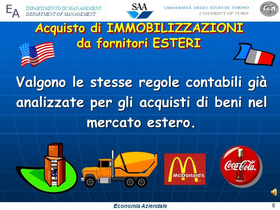 """Economia Aziendale DIPARTIMENTO DI MANAGEMENT DEPARTMENT OF MANAGEMENT 5 Tutti i costi sostenuti per poter """"utilizzare"""" le immobilizzazioni devono ess"""