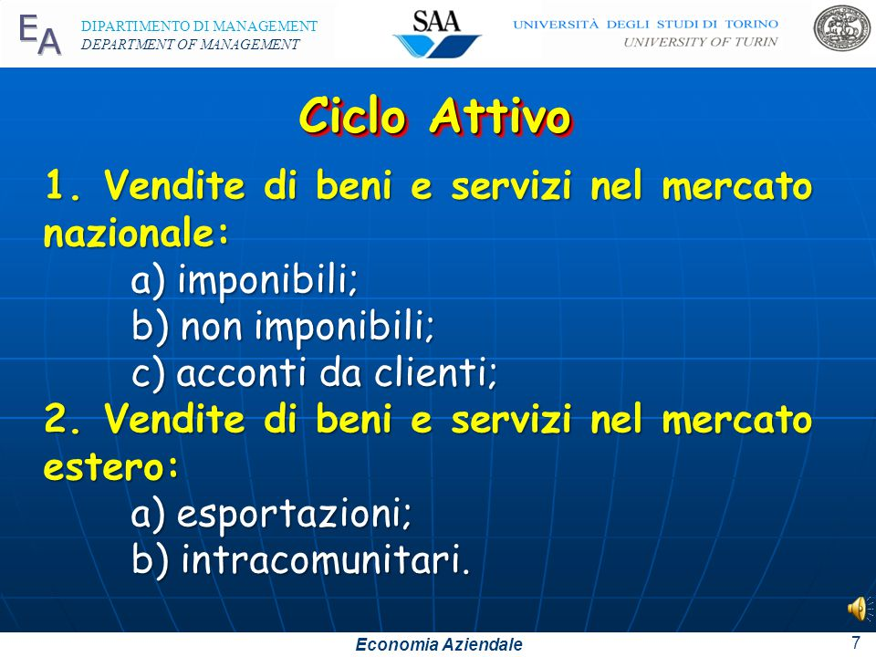 Economia Aziendale DIPARTIMENTO DI MANAGEMENT DEPARTMENT OF MANAGEMENT 7 Ciclo Attivo 1.