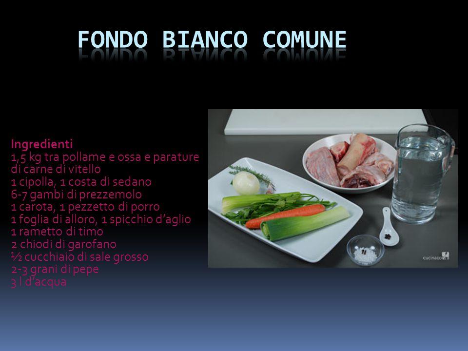 Ingredienti 1,5 kg tra pollame e ossa e parature di carne di vitello 1 cipolla, 1 costa di sedano 6-7 gambi di prezzemolo 1 carota, 1 pezzetto di porr