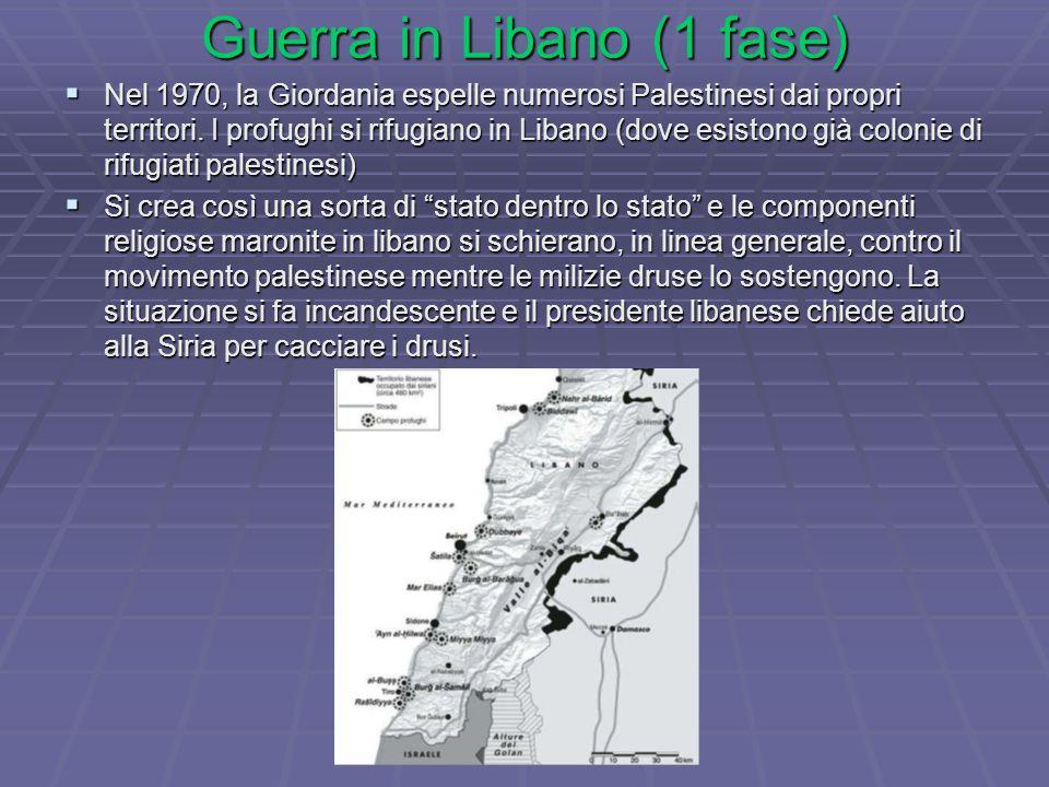 Guerra in Libano (1 fase)  Nel 1970, la Giordania espelle numerosi Palestinesi dai propri territori.