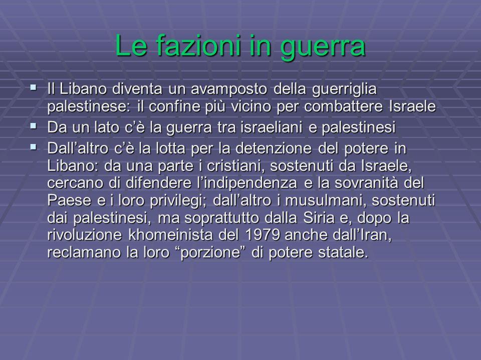 Le fazioni in guerra  Il Libano diventa un avamposto della guerriglia palestinese: il confine più vicino per combattere Israele  Da un lato c'è la guerra tra israeliani e palestinesi  Dall'altro c'è la lotta per la detenzione del potere in Libano: da una parte i cristiani, sostenuti da Israele, cercano di difendere l'indipendenza e la sovranità del Paese e i loro privilegi; dall'altro i musulmani, sostenuti dai palestinesi, ma soprattutto dalla Siria e, dopo la rivoluzione khomeinista del 1979 anche dall'Iran, reclamano la loro porzione di potere statale.