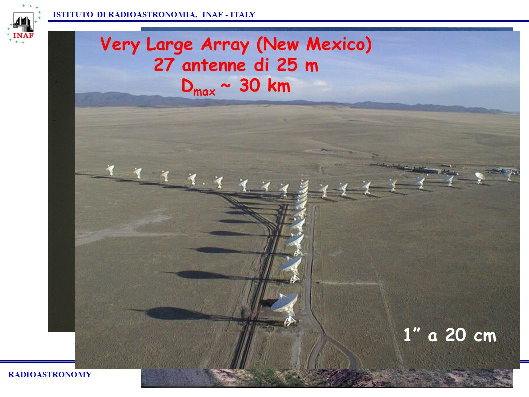 Westerbork (Olanda) 14 antenne di 25 m D max ~ 3 km RADIOASTRONOMY ISTITUTO DI RADIOASTRONOMIA, INAF - ITALY ATCA (Australia) 6 antenne di 22 m D max ~ 6 km Very Large Array (New Mexico) 27 antenne di 25 m D max ~ 30 km 1 a 20 cm
