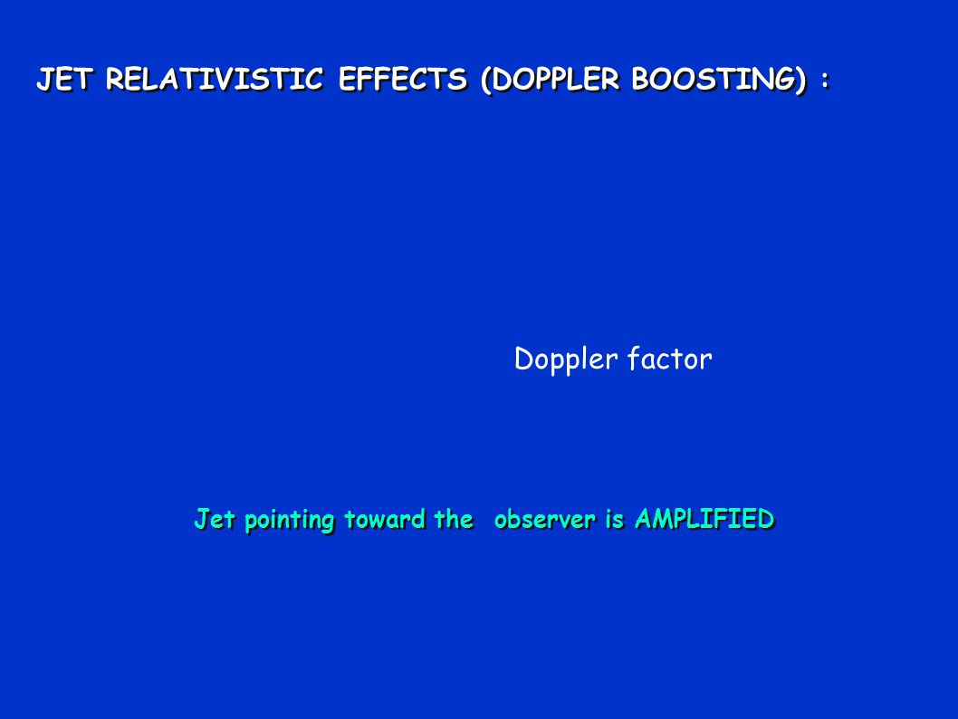 JET RELATIVISTIC EFFECTS (DOPPLER BOOSTING) : JET RELATIVISTIC EFFECTS (DOPPLER BOOSTING) : Jet pointing toward the observer is AMPLIFIED Doppler factor