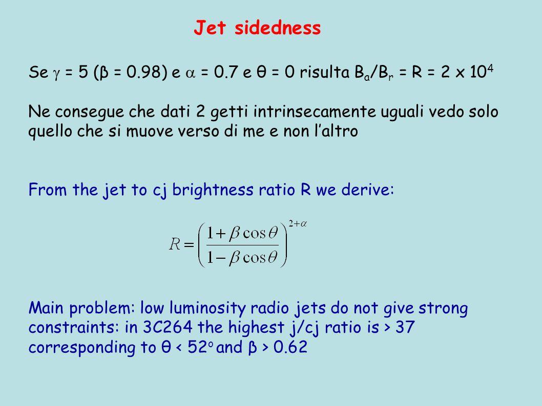 Jet sidedness Se  = 5 (β = 0.98) e  = 0.7 e θ = 0 risulta B a /B r = R = 2 x 10 4 Ne consegue che dati 2 getti intrinsecamente uguali vedo solo quello che si muove verso di me e non l'altro From the jet to cj brightness ratio R we derive: Main problem: low luminosity radio jets do not give strong constraints: in 3C264 the highest j/cj ratio is > 37 corresponding to θ 0.62