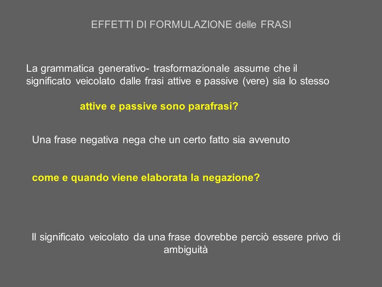 La grammatica generativo- trasformazionale assume che il significato veicolato dalle frasi attive e passive (vere) sia lo stesso attive e passive sono