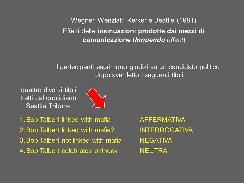 Wegner, Wenzlaff, Kerker e Beattie (1981) Effetti delle insinuazioni prodotte dai mezzi di comunicazione (Innuendo effect) 1.Bob Talbert linked with m