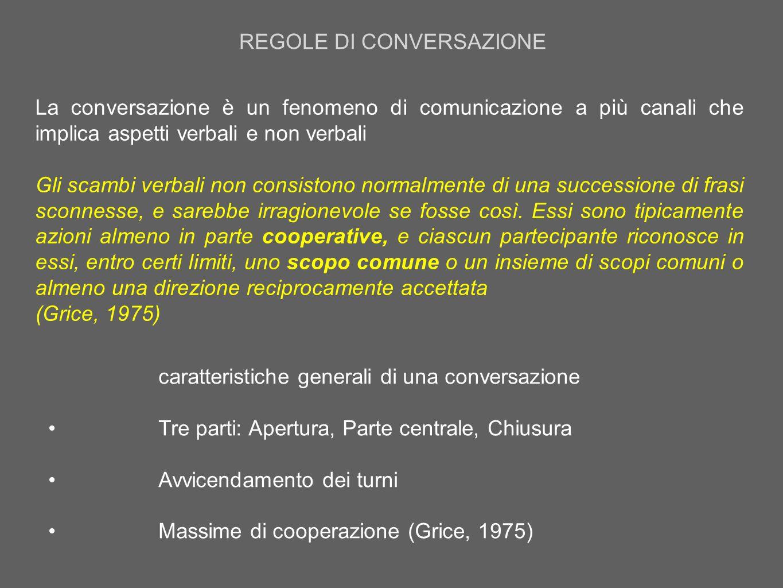 REGOLE DI CONVERSAZIONE La conversazione è un fenomeno di comunicazione a più canali che implica aspetti verbali e non verbali Gli scambi verbali non