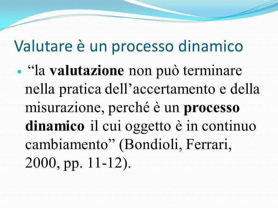 la valutazione non può terminare nella pratica dell'accertamento e della misurazione, perché è un processo dinamico il cui oggetto è in continuo cambiamento (Bondioli, Ferrari, 2000, pp.