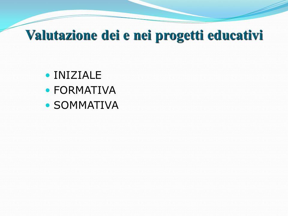 Valutazione dei e nei progetti educativi INIZIALE FORMATIVA SOMMATIVA