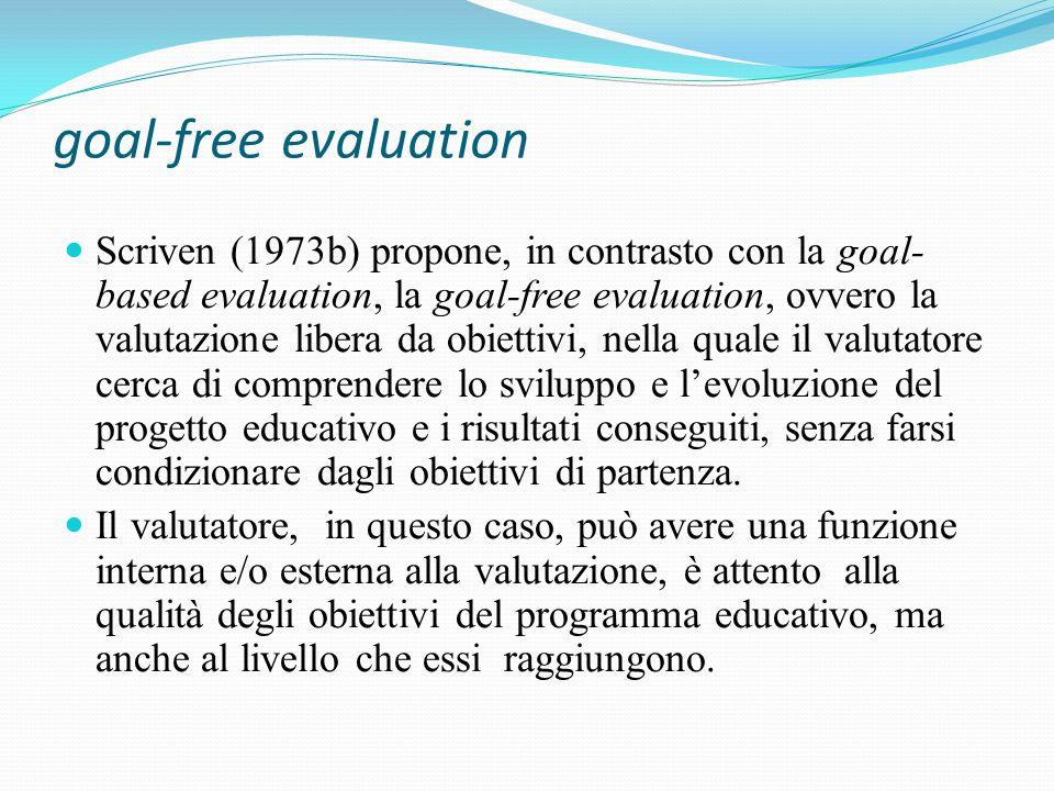 goal-free evaluation Scriven (1973b) propone, in contrasto con la goal- based evaluation, la goal-free evaluation, ovvero la valutazione libera da obiettivi, nella quale il valutatore cerca di comprendere lo sviluppo e l'evoluzione del progetto educativo e i risultati conseguiti, senza farsi condizionare dagli obiettivi di partenza.