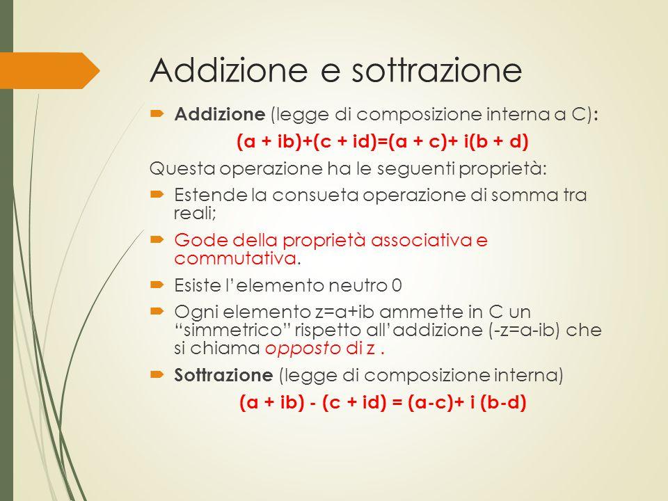 Addizione e sottrazione  Addizione (legge di composizione interna a C) : (a + ib)+(c + id)=(a + c)+ i(b + d) Questa operazione ha le seguenti proprie