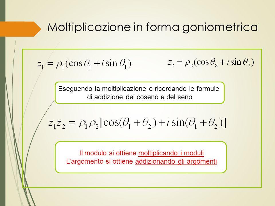 Moltiplicazione in forma goniometrica Eseguendo la moltiplicazione e ricordando le formule di addizione del coseno e del seno Il modulo si ottiene mol