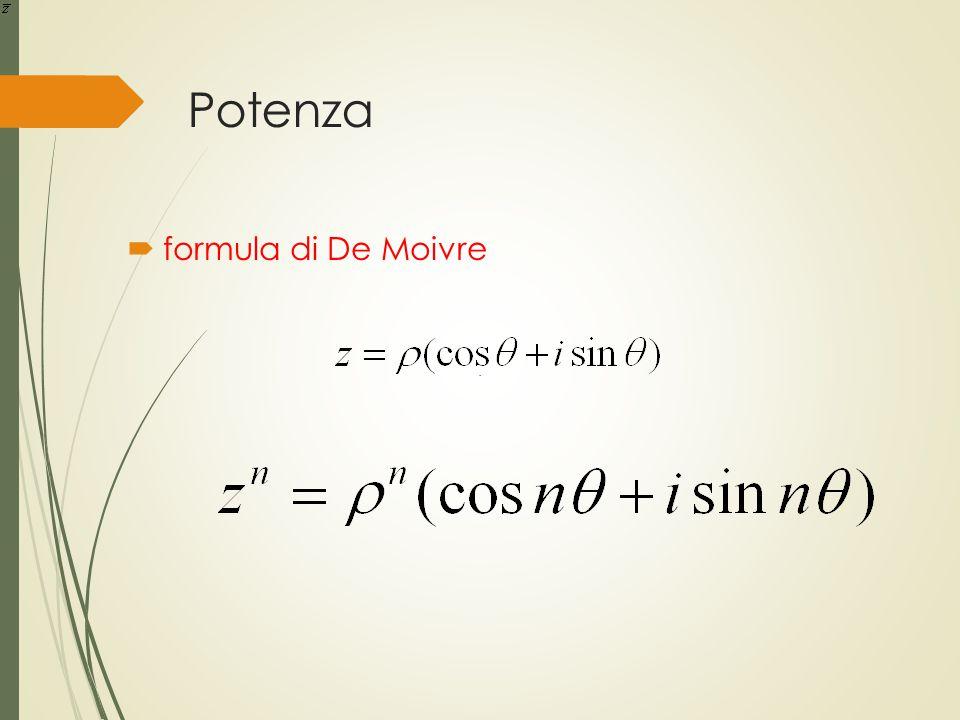Potenza.  formula di De Moivre