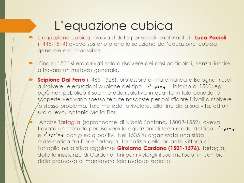 L'equazione cubica  L'equazione cubica aveva sfidato per secoli i matematici: Luca Pacioli (1445-1514) aveva sostenuto che la soluzione dell'equazion