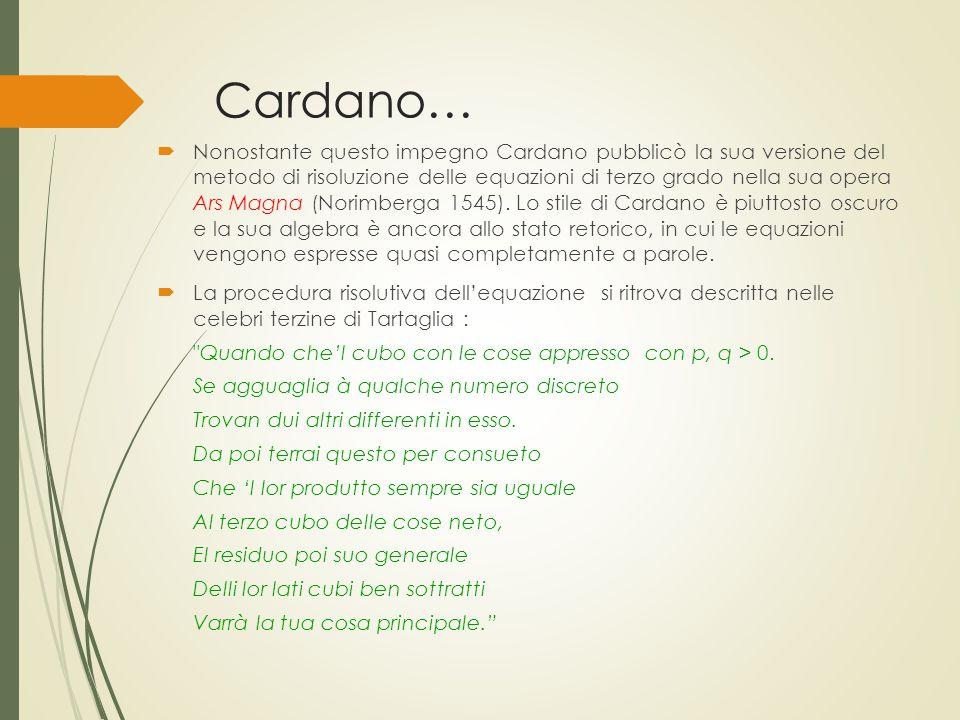 Cardano…  Nonostante questo impegno Cardano pubblicò la sua versione del metodo di risoluzione delle equazioni di terzo grado nella sua opera Ars Mag