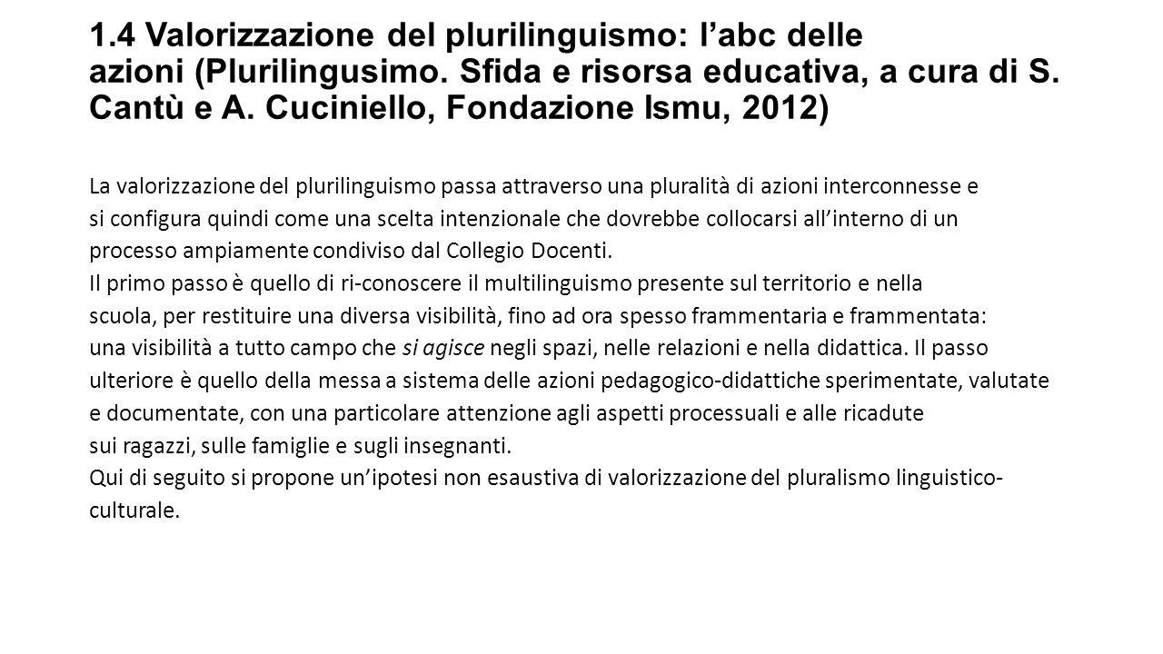 1.4 Valorizzazione del plurilinguismo: l'abc delle azioni (Plurilingusimo.