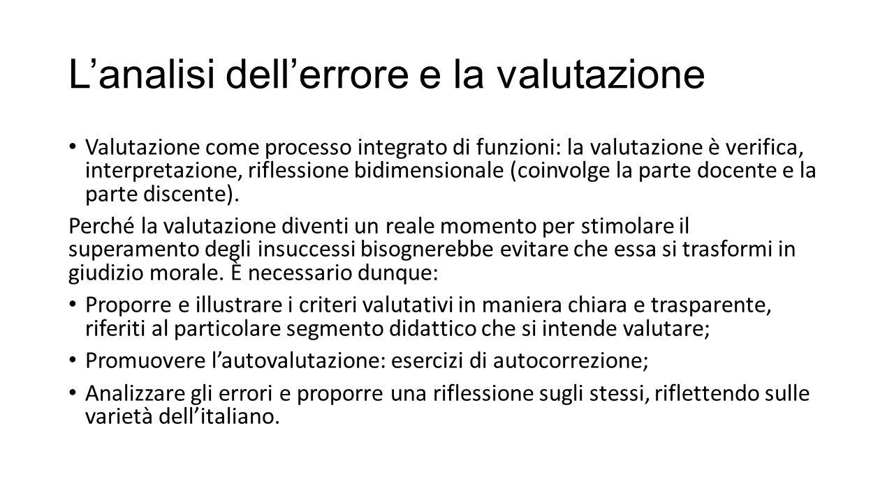 L'analisi dell'errore e la valutazione Valutazione come processo integrato di funzioni: la valutazione è verifica, interpretazione, riflessione bidimensionale (coinvolge la parte docente e la parte discente).