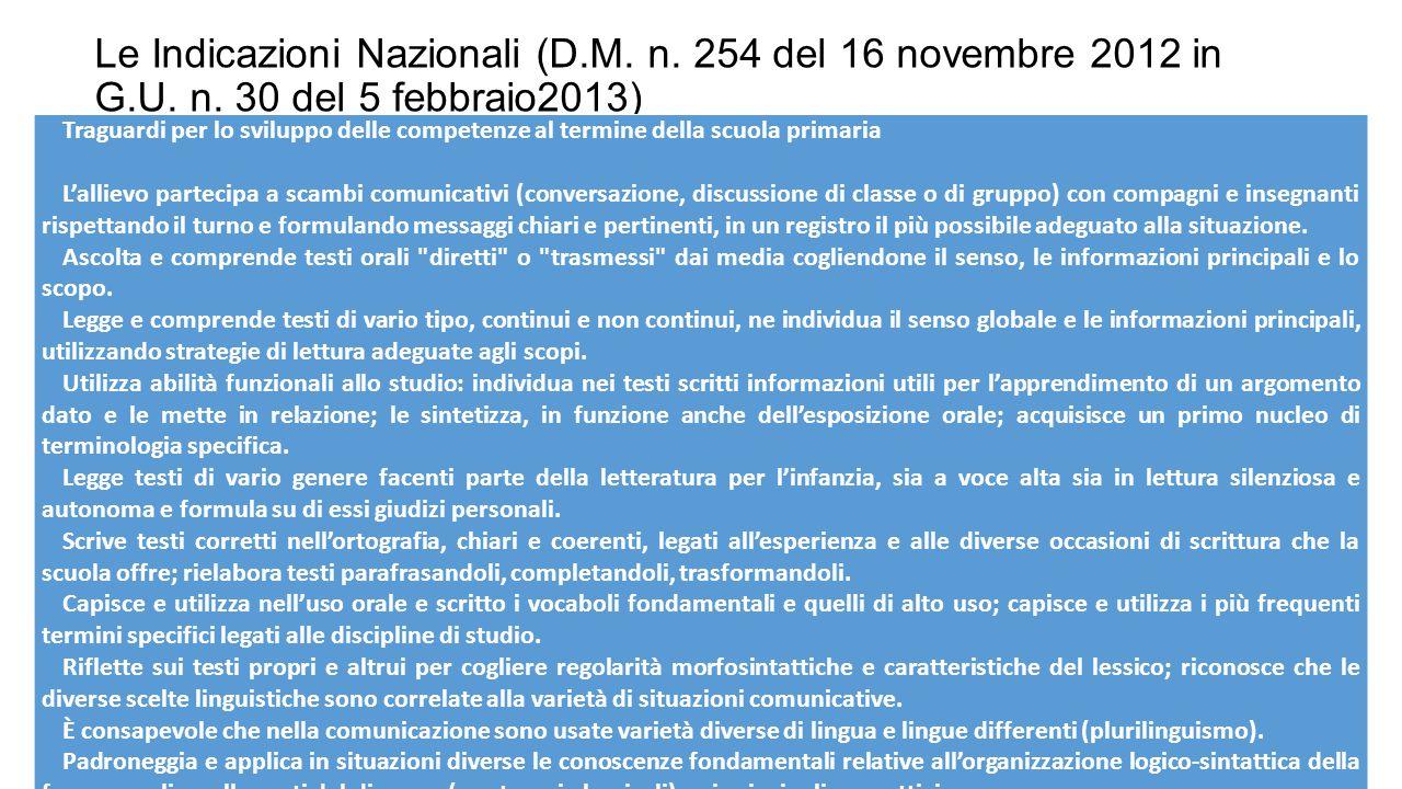 Le Indicazioni Nazionali (D.M.n. 254 del 16 novembre 2012 in G.U.