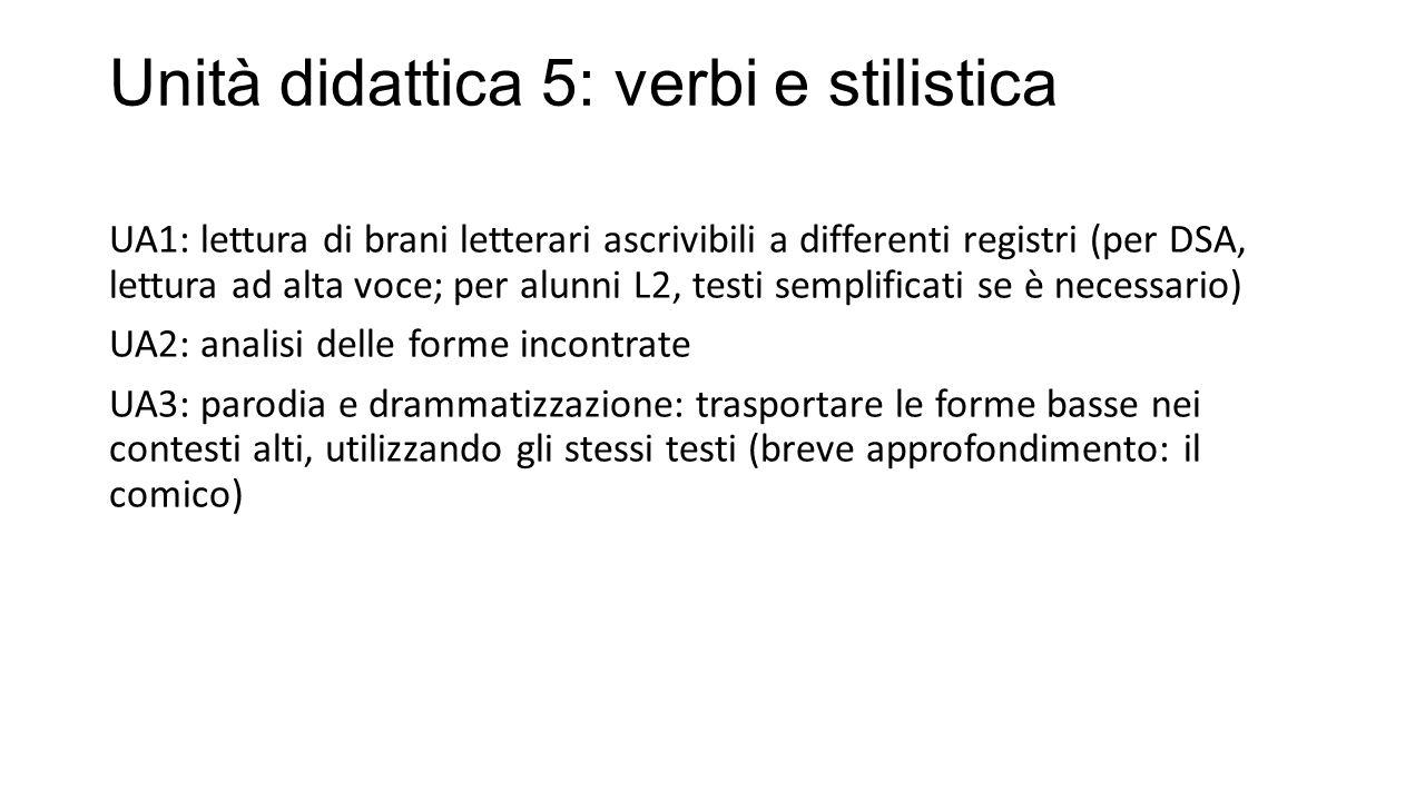 Unità didattica 5: verbi e stilistica UA1: lettura di brani letterari ascrivibili a differenti registri (per DSA, lettura ad alta voce; per alunni L2, testi semplificati se è necessario) UA2: analisi delle forme incontrate UA3: parodia e drammatizzazione: trasportare le forme basse nei contesti alti, utilizzando gli stessi testi (breve approfondimento: il comico)