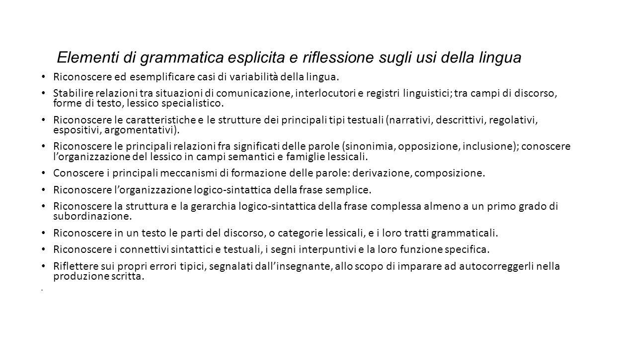 Elementi di grammatica esplicita e riflessione sugli usi della lingua Riconoscere ed esemplificare casi di variabilità della lingua.