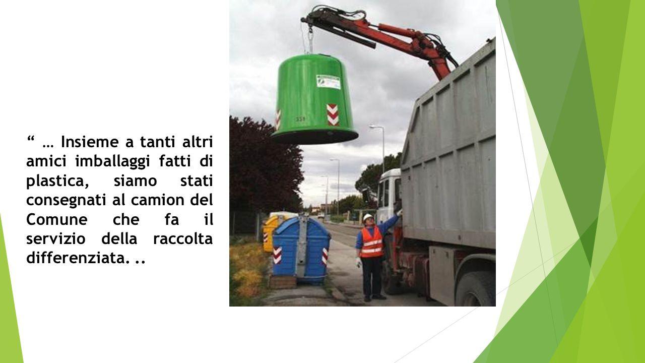 … Insieme a tanti altri amici imballaggi fatti di plastica, siamo stati consegnati al camion del Comune che fa il servizio della raccolta differenziata...