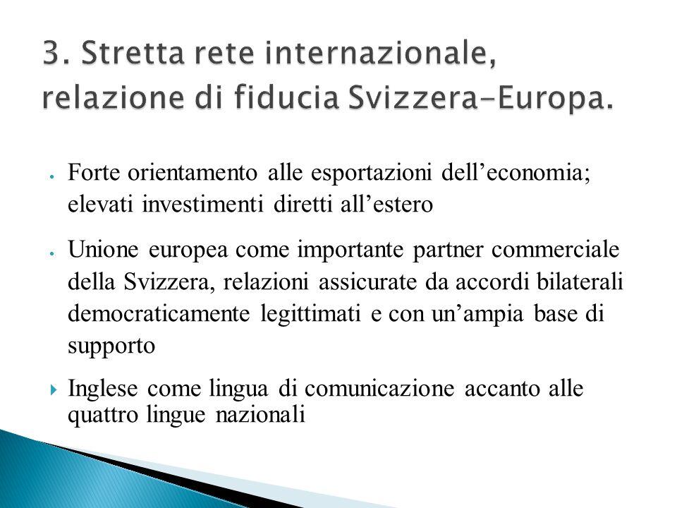  Tre dei quattro principali mercati e delle principali economie sono Paesi confinanti con la Svizzera  Centro di comunicazione e trasporto tra il Nord e il Sud dell'Europa