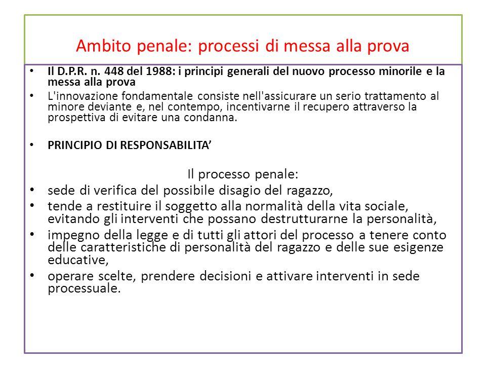 Ambito penale: processi di messa alla prova Il D.P.R.