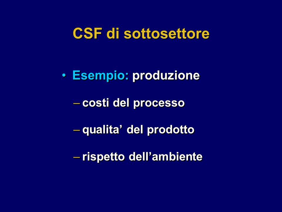 –costi del processo –qualita' del prodotto –rispetto dell'ambiente –costi del processo –qualita' del prodotto –rispetto dell'ambiente CSF di sottosettore Esempio: produzione