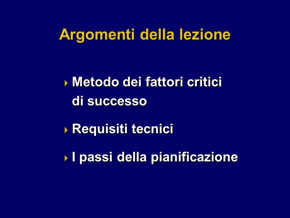  Metodo dei fattori critici di successo  Requisiti tecnici  I passi della pianificazione  Metodo dei fattori critici di successo  Requisiti tecnici  I passi della pianificazione Argomenti della lezione