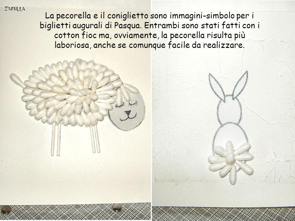 Per il coniglietto occorrono 5 cotton fioc, dovendo riempire solo la codina, per il resto il procedimento è lo stesso della pecorella.