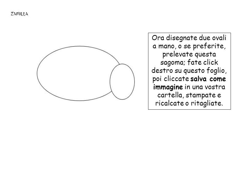 Ora disegnate due ovali a mano, o se preferite, prelevate questa sagoma; fate click destro su questo foglio, poi cliccate salva come immagine in una vostra cartella, stampate e ricalcate o ritagliate.