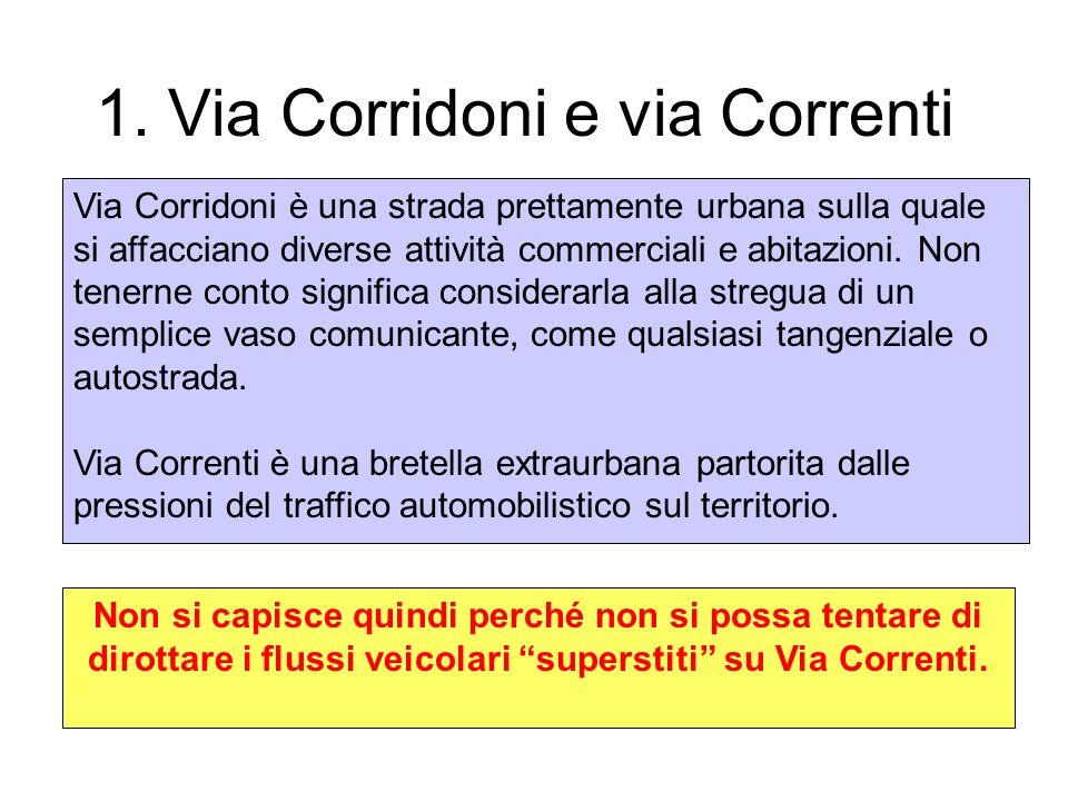 1. Via Corridoni e via Correnti Via Corridoni è una strada prettamente urbana sulla quale si affacciano diverse attività commerciali e abitazioni. Non