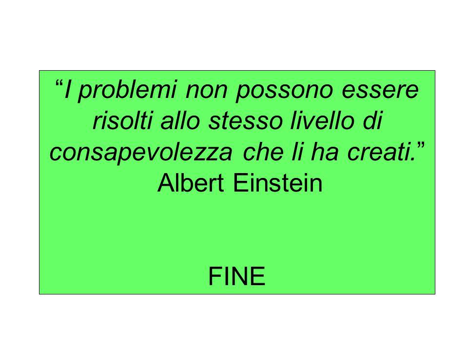 I problemi non possono essere risolti allo stesso livello di consapevolezza che li ha creati. Albert Einstein FINE