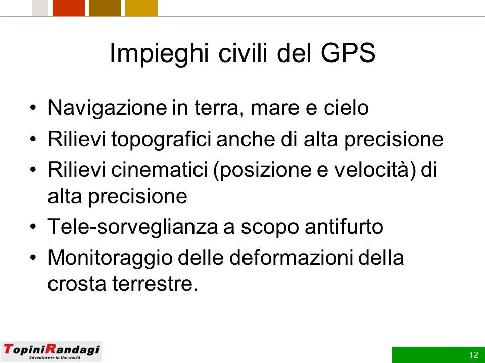11 Operazioni GPS Le operazioni di controllo e riposizionamento dei satelliti, di elaborazione e di trasmissione dei dati e soprattutto di calcolo e r