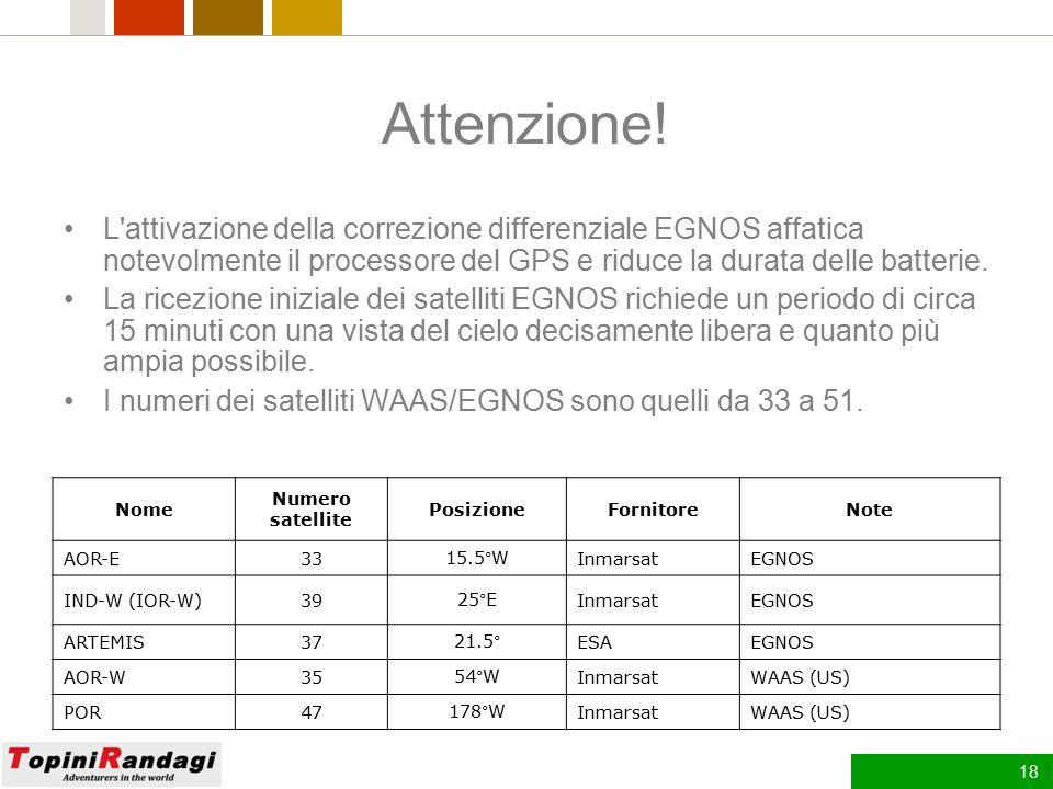 17 Come funziona EGNOS Le stazioni a terra rilevano l'errore dei dati trasmessi dai satelliti GPS (che è imputabile in massima parte alla ionizzazione