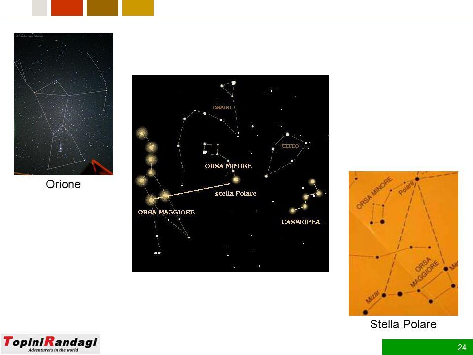 23 Le Stelle Le stelle si spostano nel cielo cambiando la loro posizione con il trascorrere del tempo. L'unica a rimanere fissa è la Stella Polare che