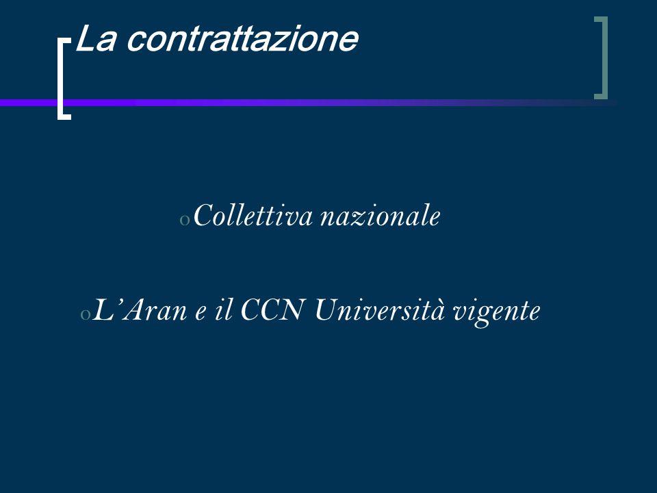 La contrattazione o Collettiva nazionale o L'Aran e il CCN Università vigente