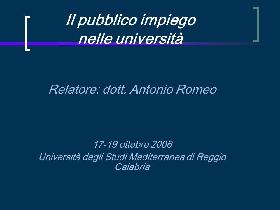 Il pubblico impiego nelle università Relatore: dott.