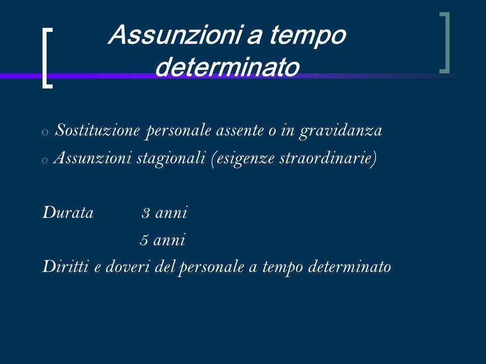 Assunzioni a tempo determinato o Sostituzione personale assente o in gravidanza o Assunzioni stagionali (esigenze straordinarie) Durata 3 anni 5 anni Diritti e doveri del personale a tempo determinato