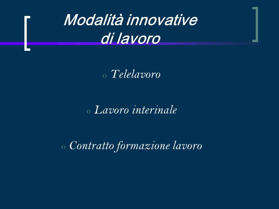 Modalità innovative di lavoro o Telelavoro o Lavoro interinale o Contratto formazione lavoro