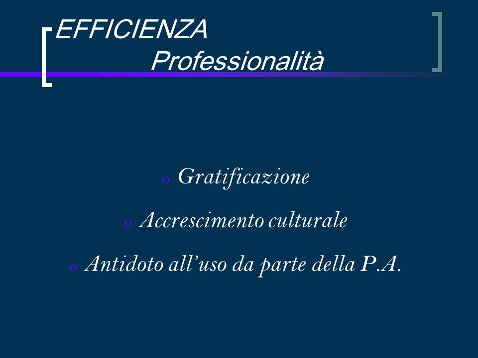EFFICIENZA Professionalità o Gratificazione o Accrescimento culturale o Antidoto all'uso da parte della P.A.