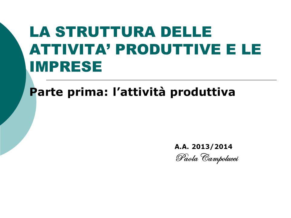 LA STRUTTURA DELLE ATTIVITA' PRODUTTIVE E LE IMPRESE Parte prima: l'attività produttiva A.A. 2013/2014 Paola Campolucci