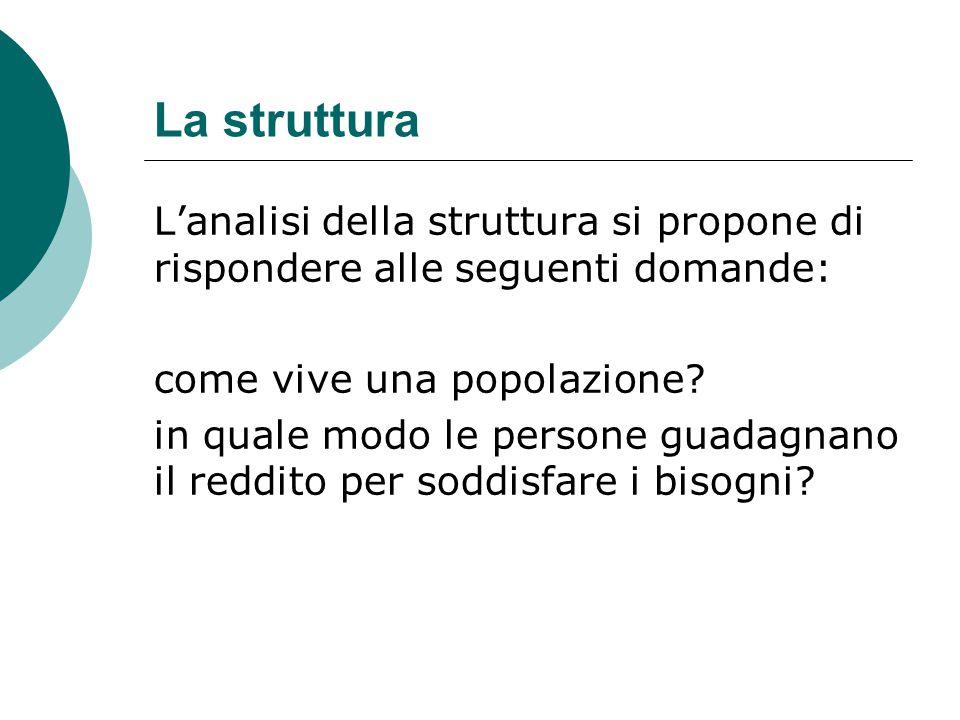 La struttura L'analisi della struttura si propone di rispondere alle seguenti domande: come vive una popolazione? in quale modo le persone guadagnano