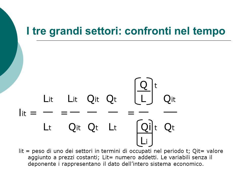 I tre grandi settori: confronti nel tempo Q t L it L it Q it Q t L Q it l it = = = L t Q it Q t L t Qi t Q t L i lit = peso di uno dei settori in term