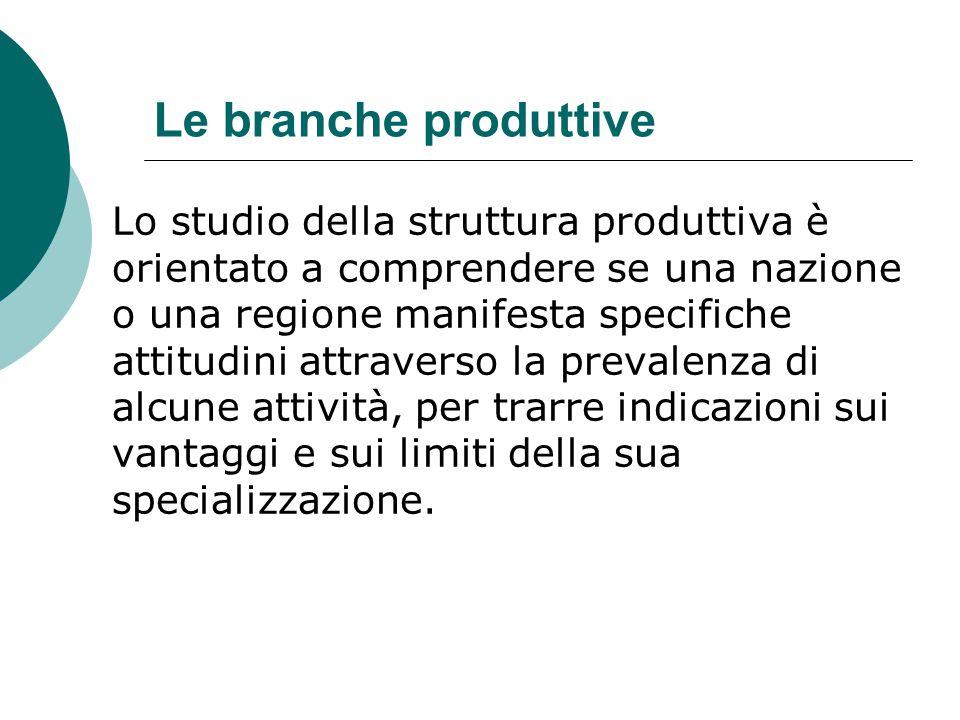 Le branche produttive Lo studio della struttura produttiva è orientato a comprendere se una nazione o una regione manifesta specifiche attitudini attr