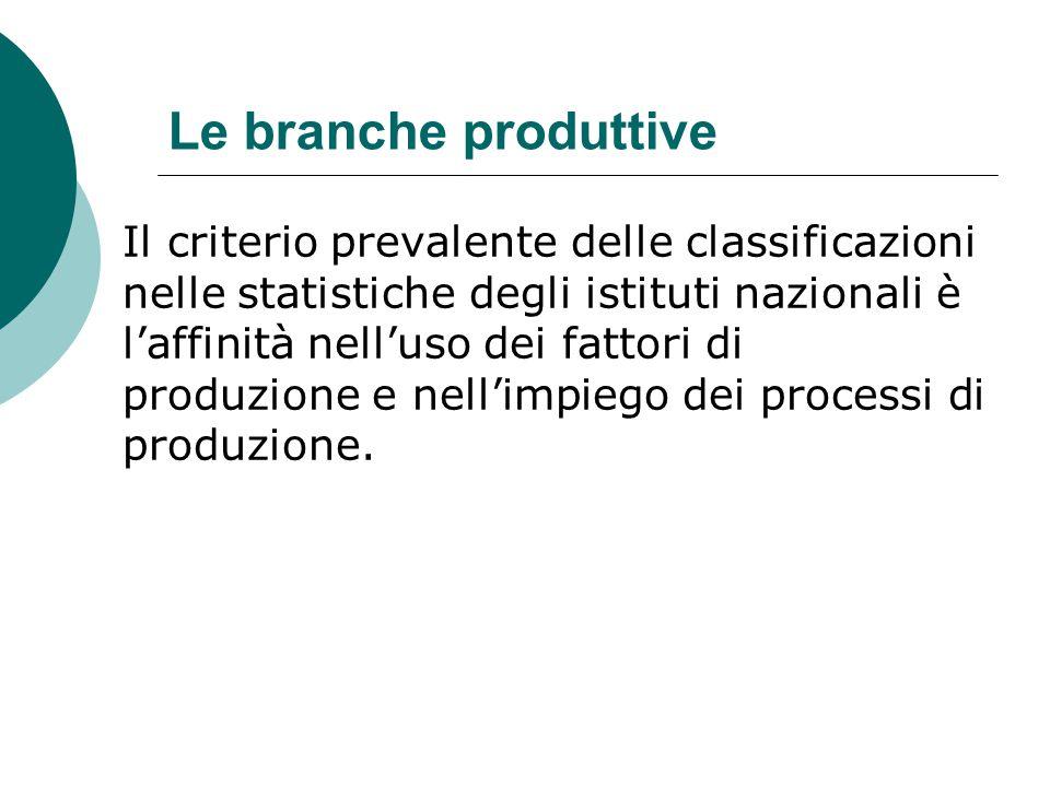 Le branche produttive Il criterio prevalente delle classificazioni nelle statistiche degli istituti nazionali è l'affinità nell'uso dei fattori di pro