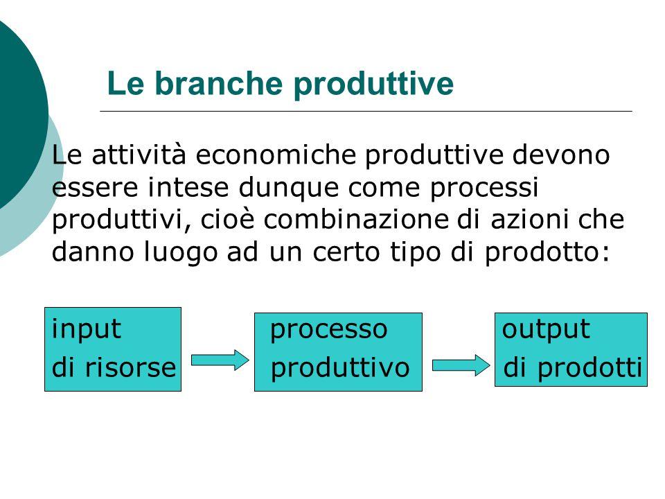 Le branche produttive Le attività economiche produttive devono essere intese dunque come processi produttivi, cioè combinazione di azioni che danno lu