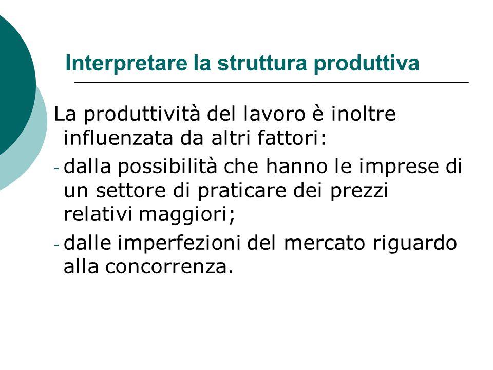 Interpretare la struttura produttiva La produttività del lavoro è inoltre influenzata da altri fattori: - dalla possibilità che hanno le imprese di un